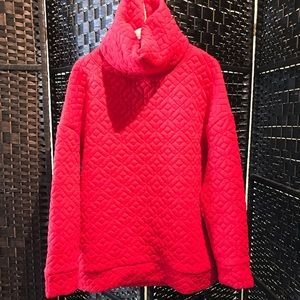 Super cozy red cowl neck pull over